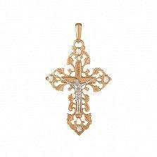 Крестик из красного золота Возрождение на узорной основе с фианитами