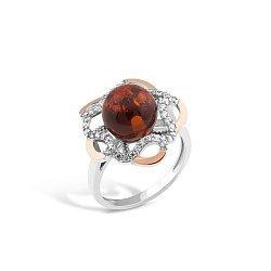 Серебряное родированное кольцо Моретта с золотыми накладками, шариком янтаря и фианитами