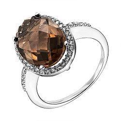 Серебряное кольцо с раухтопазом и фианитами 000137589