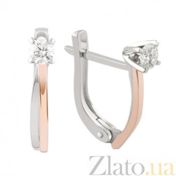 Серьги в двух цветах золота с бриллиантами Сила любви KBL--С2430/крас/брил