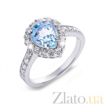 Серебряное кольцо с топазом и фианитами Капля моря 000027137
