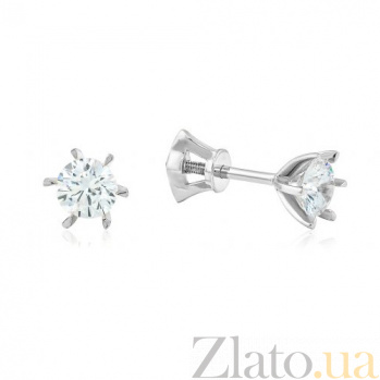 Золотые серьги-пуссеты с бриллиантами Лия EDM-С7393/1G