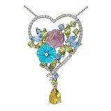 Золотой кулон с бриллиантами, хризолитами, топазами, аметистом и бирюзой Влюбленность