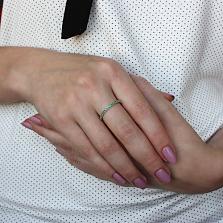 Серебряное кольцо Жаннет с фианитами цвета изумруд
