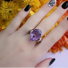 Золотое кольцо Кхалиси с аметистом, бриллиантами и эмалью