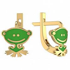 Золотые серьги Лягушонок с эмалью