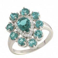 Серебряное кольцо Светлана с синтезированным изумрудом и фианитами