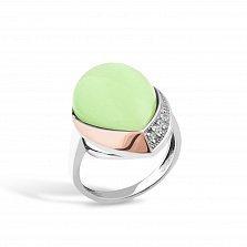 Серебряное кольцо Хильдегарда с золотой накладкой, светло-зеленым улекситом и фианитами