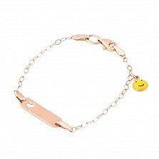 Золотой браслет Смайлик с эмалью
