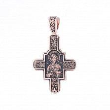 Золотой крест с чернением Ангел Хранитель