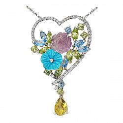 Золотой кулон с бриллиантами, хризолитами, топазами, аметистом и бирюзой Влюбленность 000037930