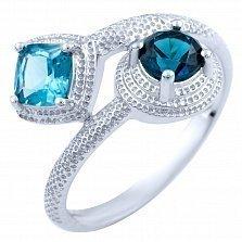 Серебряное кольцо Шаиста с синтезированным топазом лондон