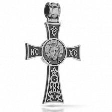 Крестик из серебра Добрый пастырь с чернением