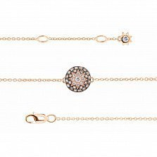 Золотой браслет Счастливая звезда с бриллиантами и лейкосапфиром