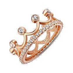 Кольцо-корона из красного золота с фианитами 000134169