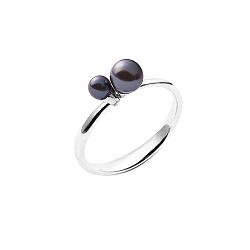 Серебряное кольцо на верхнюю фалангу Ночное небо с подвижными бусинами из черного жемчуга