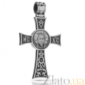 Крестик из серебра Добрый пастырь с чернением HUF--3390-Ч