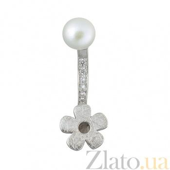 Серебряная серьга с жемчугом Лунный цветок Р3-Ж