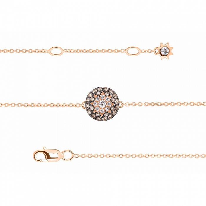 Золотой браслет Счастливая звезда с бриллиантами и лейкосапфиром 000080860