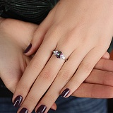 Серебряное кольцо Шарлиз с мистик кварцем и фианитами