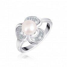 Серебряное кольцо с жемчугом и фианитами Ламара