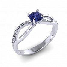 Золотое кольцо Desire в белом цвете с символом бесконечности, танзанитом и бриллиантами