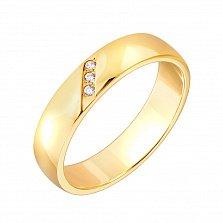 Золотое обручальное кольцо с фианитами Адель