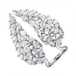 Разомкнутое серебряное кольцо с фианитами 000136598