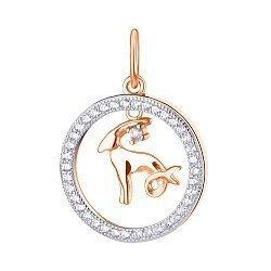 Серебряный кулон Козерог с позолотой и фианитами 000113692