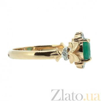 Золотое кольцо в красном цвете с изумрудом и бриллиантами Наиль ZMX--RE-6640_K