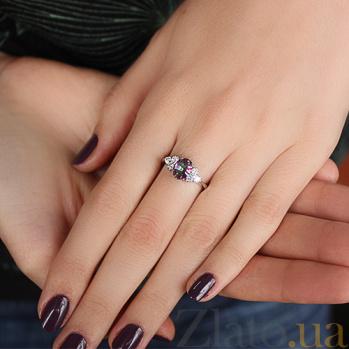 Серебряное кольцо Шарлиз с мистик кварцем и фианитами 000032400