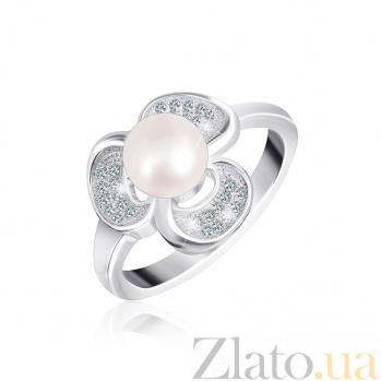 Серебряное кольцо с жемчугом и фианитами Ламара 000025497