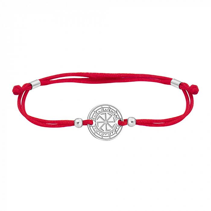 Шелковый браслет Коловрат с круглой серебряной вставкой 000065342