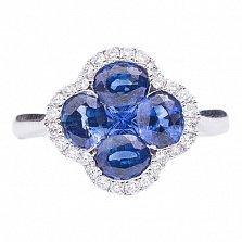 Кольцо из золота с сапфирами и бриллиантами Морской цветок