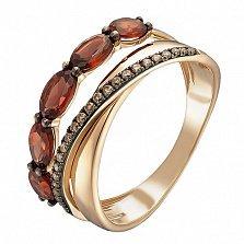 Золотое кольцо Дана в красном цвете с гранатами и бриллиантами