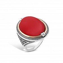 Серебряное кольцо Роксолана с чернением, золотой накладкой и имитацией коралла