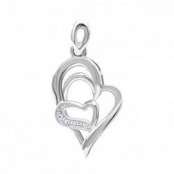 Серебряный кулон-сердце Магия чувств с белыми фианитами