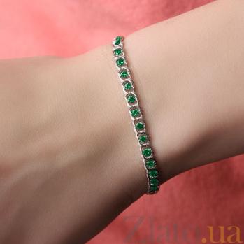 Серебряный браслет Мирена с зеленым цирконием 000082742