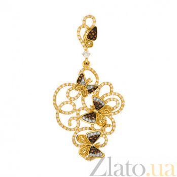 Золотая подвеска с фианитами Полет бабочек VLT--ТТТ3435