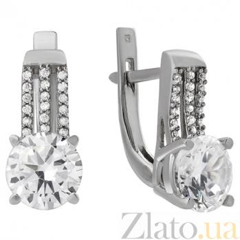 Серебряные серьги с цирконием Фрезия 000029203