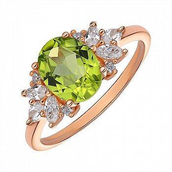 Кольцо из красного золота с хризолитом и цирконием 000141451