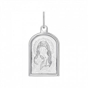 Серебряная ладанка Божия Матерь с насечками 000133765