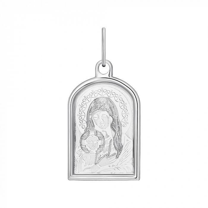 Серебряная ладанка Божия Матерь с насечками 000133765 000133765
