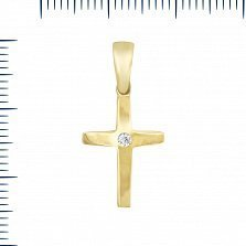 Крестик из желтого золота Точка отсчета с цирконием