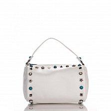 Кожаный клатч Genuine Leather 1519 белого цвета с короткой ручкой и декоративными элементами
