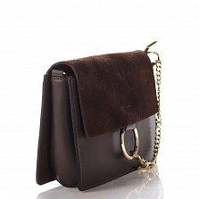 Кожаный клатч Genuine Leather 1602 темно-коричневого цвета с клапаном на магните