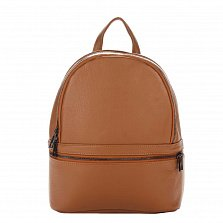 Кожаный рюкзак Genuine Leather 8482 коньячного цвета с дополнительным карманом на молнии