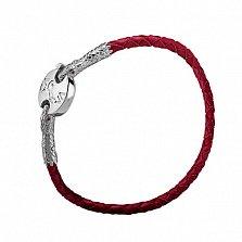 Красный кожаный браслет Змеиная мудрость со вставками серебра и синтетическими корундами
