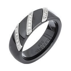 Черное керамическое кольцо Мэйэра с серебром и фианитами 000030988