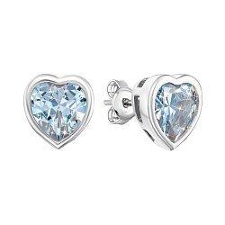 Серебряные пуссеты-сердца с фианитами 000106872